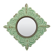 Ophelia & Co. Rashmare Worn Ceramic Distressed Wall Mirror in Turquoise