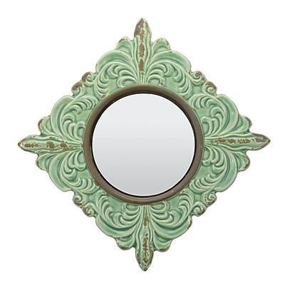 Ophelia & Co. Rashmare Worn Ceramic Distressed Wall Mirror in Turquoise