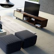 Modloft Chiswick TV Stand; Walnut / Beige Lacquer