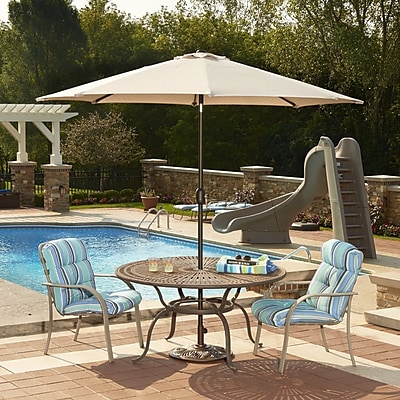 Island Umbrella Mirage 9' Lighted Umbrella; Champagne WYF078278714401