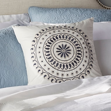 Ink + Ivy Fleur Embroidered Cotton Throw Pillow