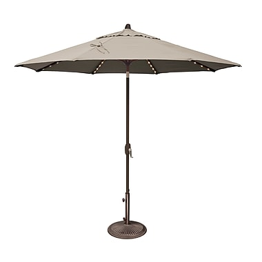 SimplyShade Lanai 9' Lighted Umbrella; Sunbrella / Antique Beige