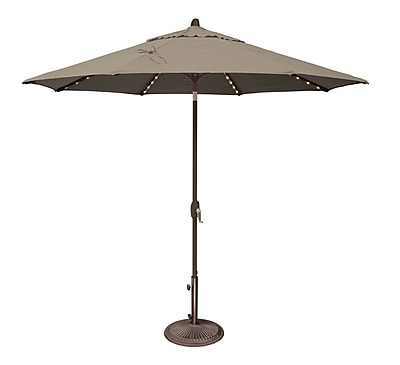 SimplyShade Lanai 9' Lighted Umbrella; Sunbrella / Cocoa WYF078277988280