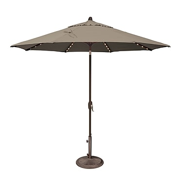 SimplyShade Lanai 9' Lighted Umbrella; Sunbrella / Cocoa