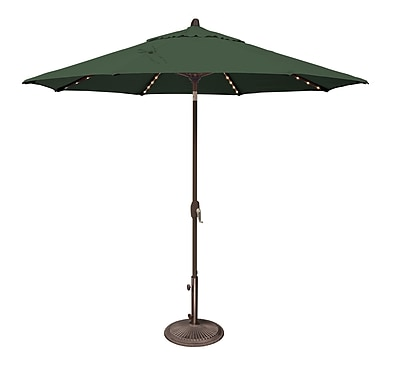 SimplyShade 9' Lanai Illuminated Umbrella; Sunbrella / Forest Green WYF078277988283