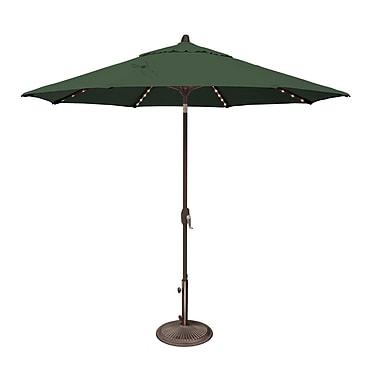 SimplyShade Lanai 9' Lighted Umbrella; Solefin / Forest Green