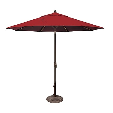 SimplyShade Lanai 9' Lighted Umbrella; Solefin / Really Red
