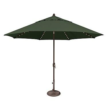 SimplyShade Lanai 11' Lighted Umbrella; Sunbrella / Forest Green