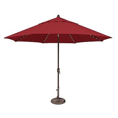 SimplyShade Lanai 11' Lighted Umbrella; Solefin / Really Red