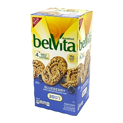 Belvita Breakfast Biscuits Blueberry 4 Packs, 20 Count