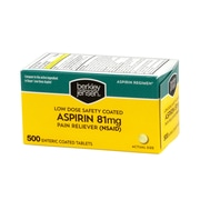 Berkley & Jensen Bulk Low Dose Safety Coated Aspirin, 81mg, 500 Count