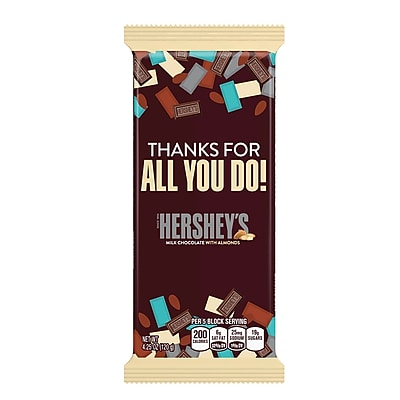 HERSHEY'S Extra Large Milk Chocolate with Almonds Appreciation Bar, 4.25 oz., 12 Count (246-00265)