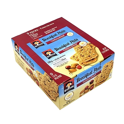 Quaker Breakfast Flats Breakfast Bars Cranberry Almond, 1.41 oz, 9 Count, 2 Pack