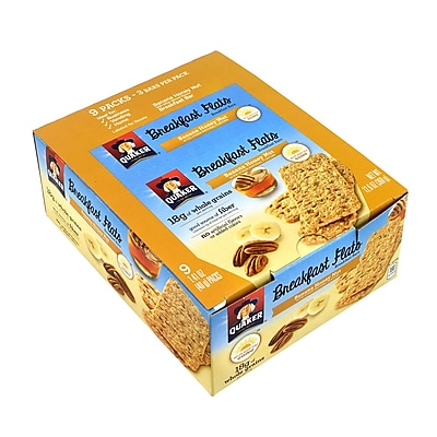 Quaker Breakfast Flats Breakfast Bars Banana Honey Nut, 1.41 oz, 9 Count, 2 Pack