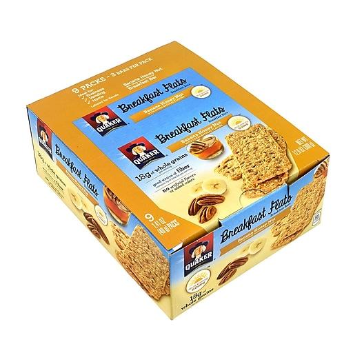 Quaker Breakfast Flats Breakfast Bars Banana Honey Nut, 1.41 oz, 9 Count, 2 Pack