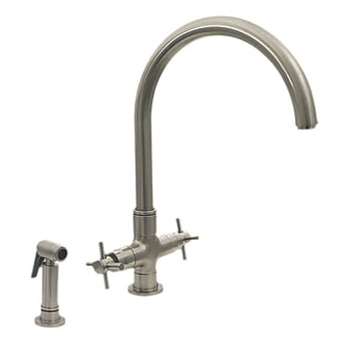 Whitehaus Collection Luxe+ Double Handle Faucet w/ Gooseneck Swivel Spout; Brushed Nickel