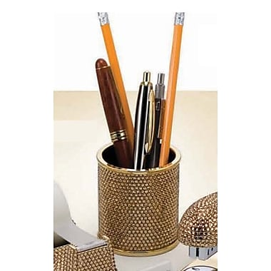 Budd Leather Covered Pencil Cup; Topaz