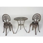 Meadow Decor Royal Crown 3 Piece Bistro Set; Walnut