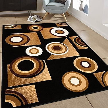 AllStar Rugs Black/Brown Area Rug; 3'9'' x 5'1''