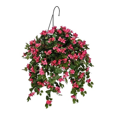 House of Silk Flowers Artificial Mini Bougainvillea Hanging Plant in Basket