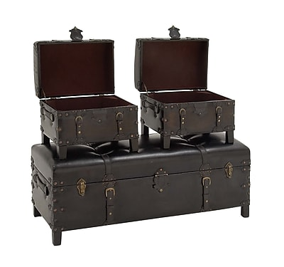 Cole & Grey Wood and Leather Storage