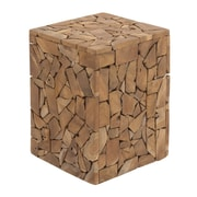 Cole & Grey Teak Wood Accent Stool