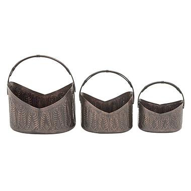 Cole & Grey 3-Piece Iron Pot Planter Set