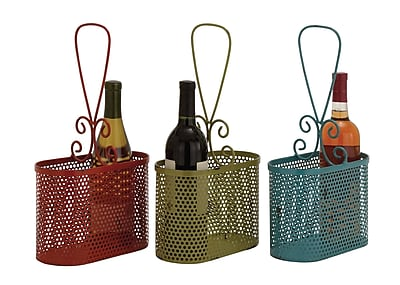 Cole & Grey Metal Wine Basket Set (Set of 3)