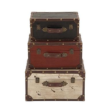 Cole & Grey 3 Piece Wooden Trunk Set