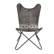Cole & Grey Metal Stitched Side Chair (Set of 2)