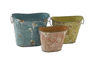 Cole & Grey 3-Piece Tin Pot Planter Set