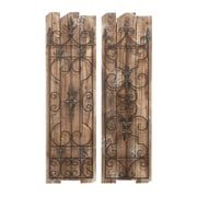 Cole & Grey Wood Metal Wall Plaque (Set of 2)