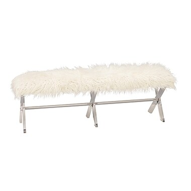 Cole & Grey Acrylic Faux Fur Bedroom Bench
