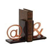 Cole & Grey Aluminum Wood Book Ends (Set of 2)