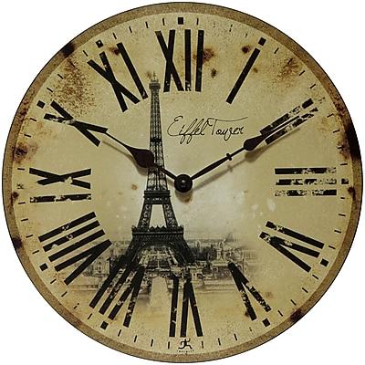 Infinity Instruments Eiffel Tower Wall Clock, 13.5