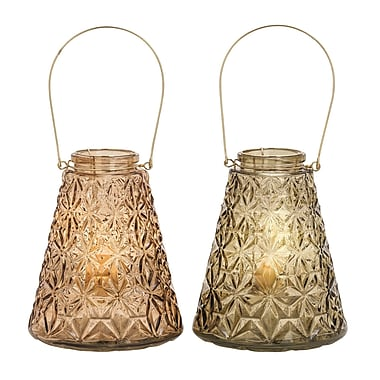 Cole & Grey Glass and Metal Lantern (Set of 2)