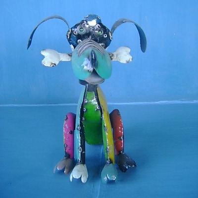 Rustic Arrow Xsmall Dog w/ Bone Statue