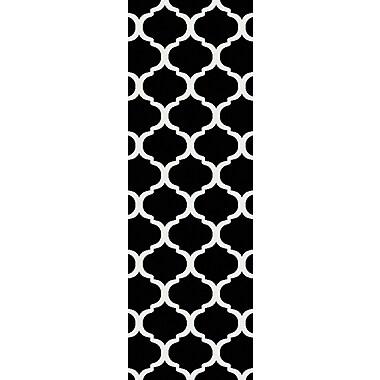 Charlton Home Bogdan Charcoal/Ivory Geometric Area Rug; Runner 2'7'' x 7'3''