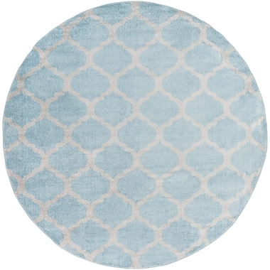 Charlton Home Bogdan Charcoal/Slate Geometric Area Rug; Round 7'10''