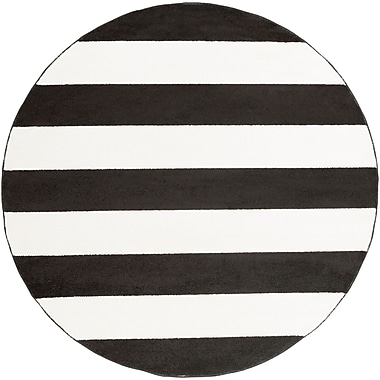 Latitude Run Greer Black/Cream Area Rug; Round 7'10''
