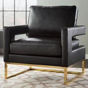 Willa Arlo Interiors Aloisio Genuine Leather Upholstery Armchair; Black