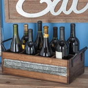 Cole & Grey Wood/Metal 8 Tabletop Wine Bottle Rack