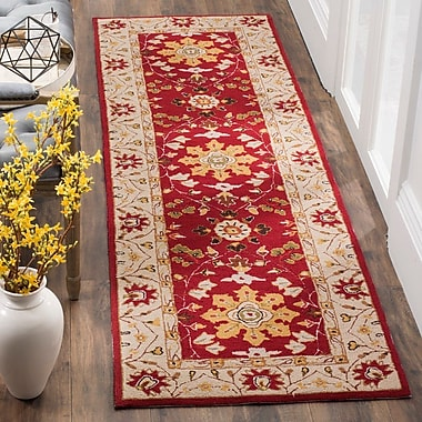 Charlton Home Driffield Hand-Hooked Red / Ivory Area Rug; Runner 2'6'' x 10'