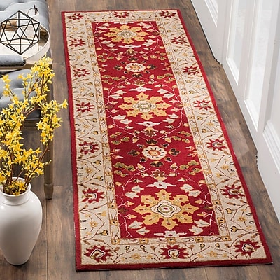 Charlton Home Driffield Hand-Hooked Red / Ivory Area Rug; Runner 2'6'' x 8'