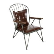 Cole & Grey Metal Wood Leather Arm Chair