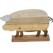 Cole & Grey Wood/Metal Pig Sculpture