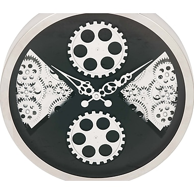 Cole & Grey Stainless Steel Gear 16'' Wall Clock