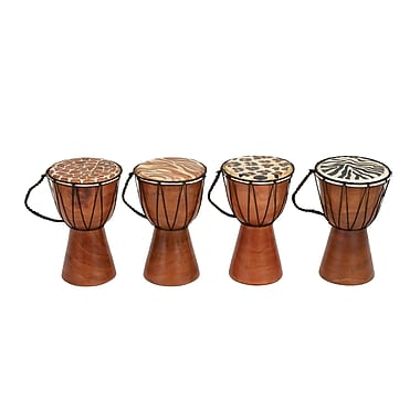 Cole & Grey 4 Piece Decorative Wood and Leather Drum Set