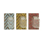 Cole & Grey Wood and Glass Wall Decor (Set of 3)