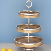 Cole & Grey Wood Aluminum 3 Tiered Stand